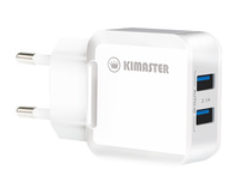 CARREGADOR USB RAPIDO AUTO-ID 5V 2.1A C/ DUAS SAIDA USB KIMASTER - TO350