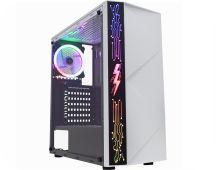 GABINETE GAMER KMEX RIADEN CG12A8 PAINEL RGB RAINBOW SEM FAN BRANCO